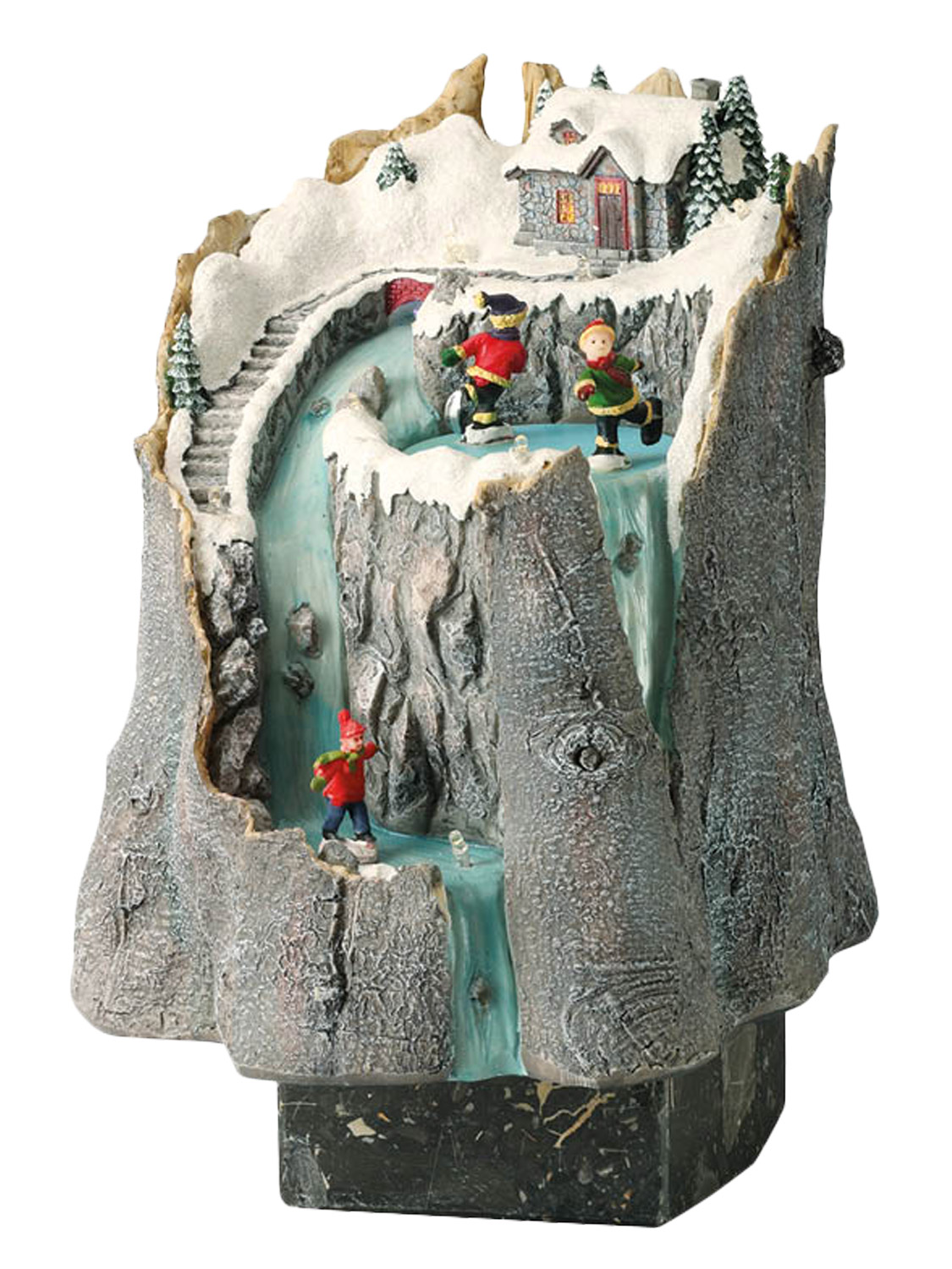 Animated christmas village tree stump snow scene musical