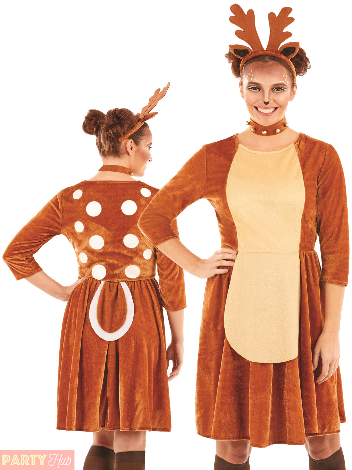 Ladies-Reindeer-Costume-Adults-Christmas-Fancy-Dress-Womens-  sc 1 st  eBay & Ladies Reindeer Costume Adults Christmas Fancy Dress Womens Sexy ...