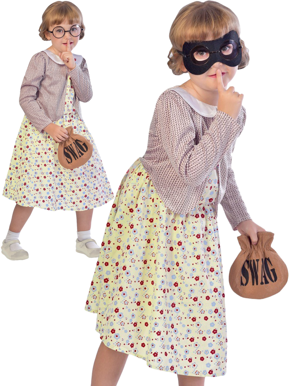 Age 9-10 Years New Burglar Granny Costume