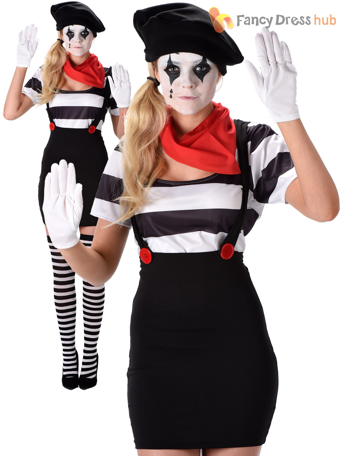 adults mime artist costume mens ladies french street circus fancy dress outfit ebay. Black Bedroom Furniture Sets. Home Design Ideas