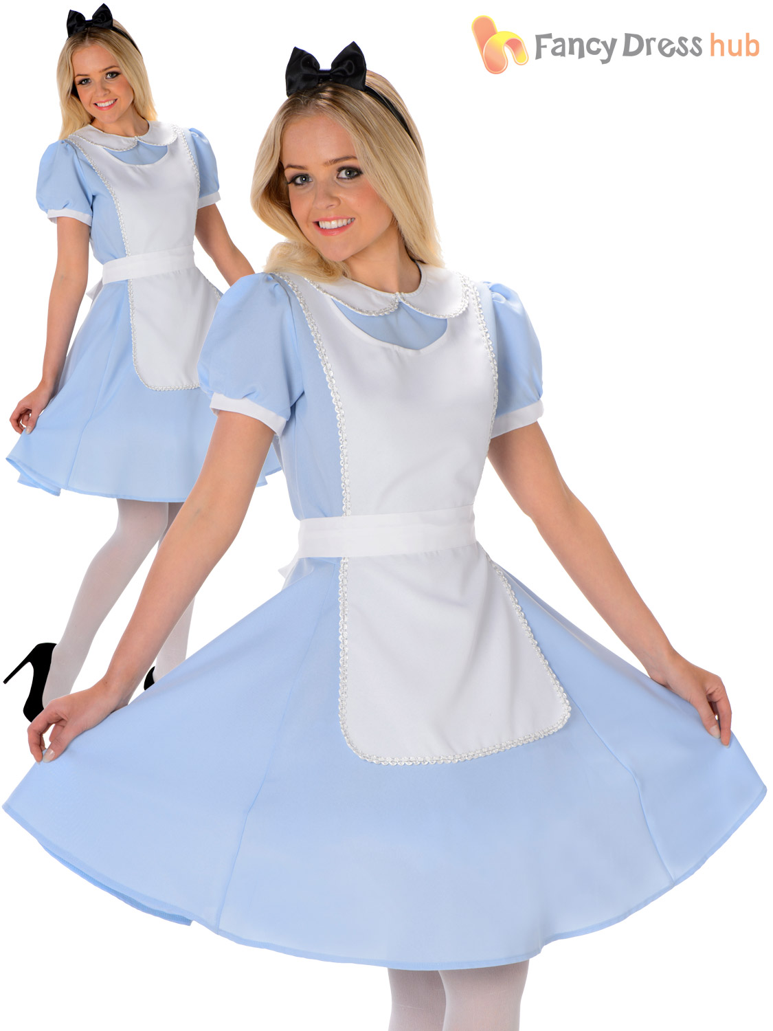 Damas-de-cuento-de-hadas-Disfraz-de-Alice-Wonderland-Fancy-Dress-para-Mujer-Adultos-Traje-De-Libro