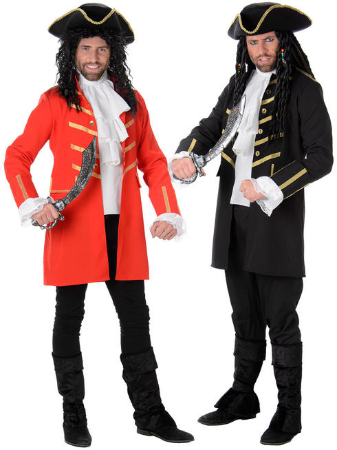 Men's Black / Red Pirate Costume