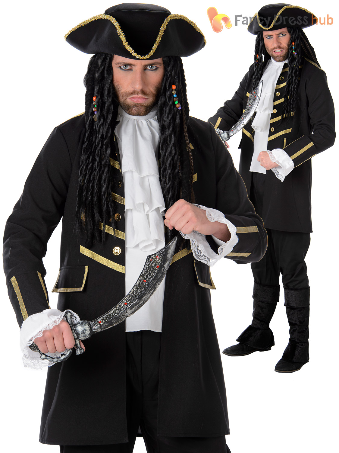 Mens-Pirate-Costume-Adults-Caribbean-Fancy-Dress-Captain-  sc 1 st  eBay & Mens Pirate Costume Adults Caribbean Fancy Dress Captain Jack Book ...