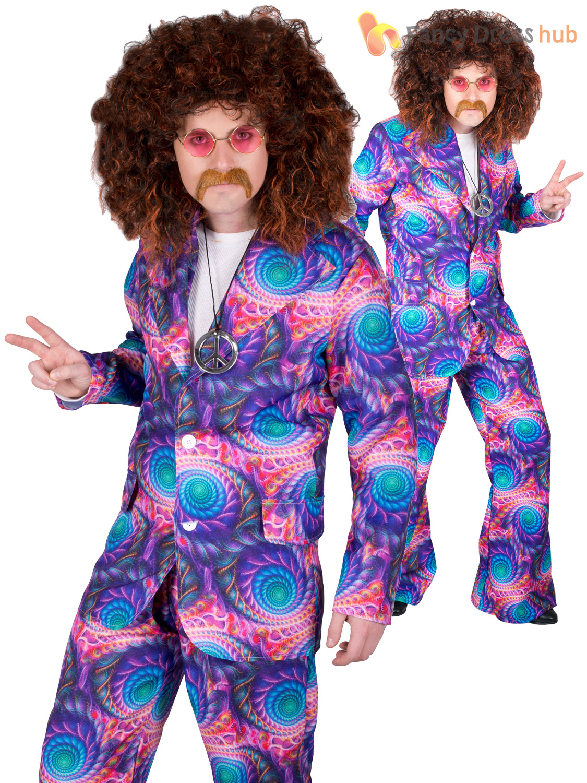 Mens 60s 70s Hippie Suit Costume Adults Hippy Fancy Dress Boho Tie Dye Outfit | EBay