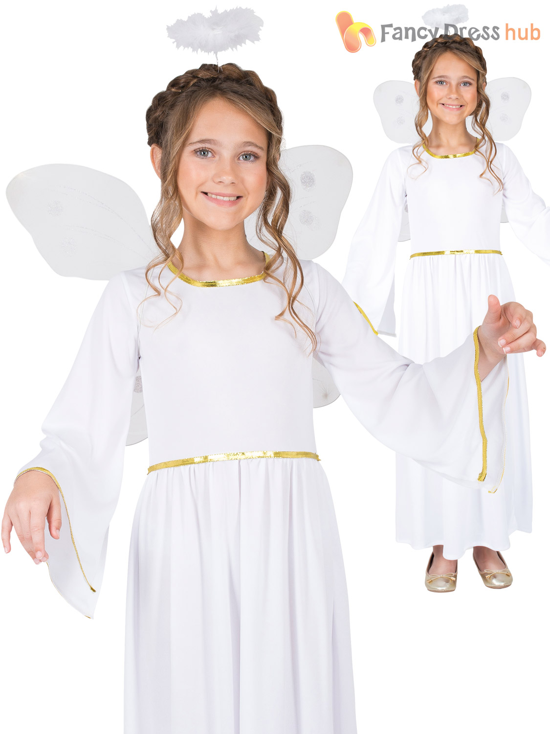 Ladies Mens Girls Gold Christmas Deluxe Angel Wings Fancy Dress Costume Outfit