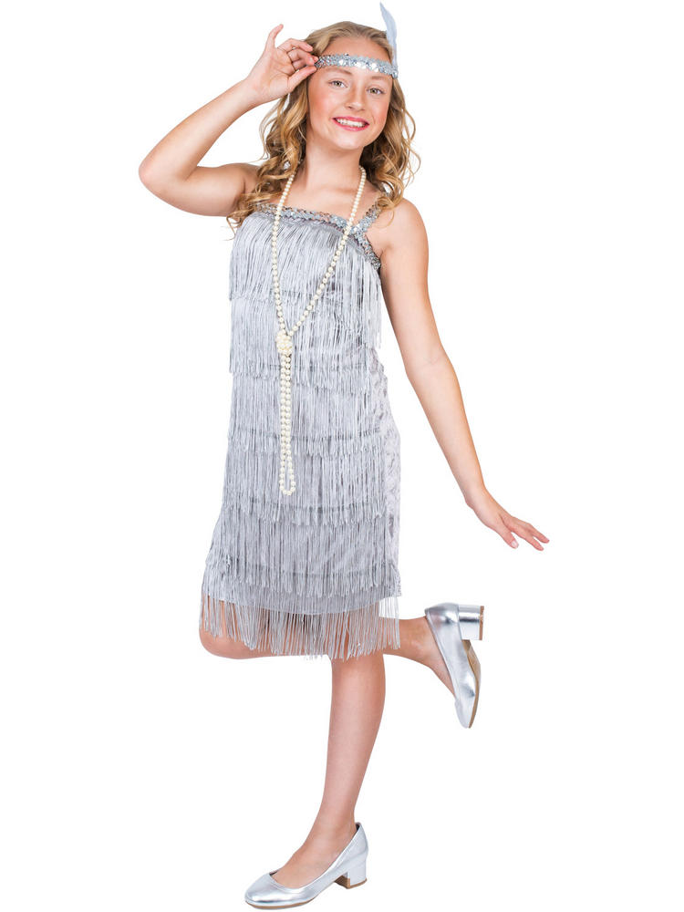 Girl S Silver Flapper Costume All Children Fancy Dress Hub