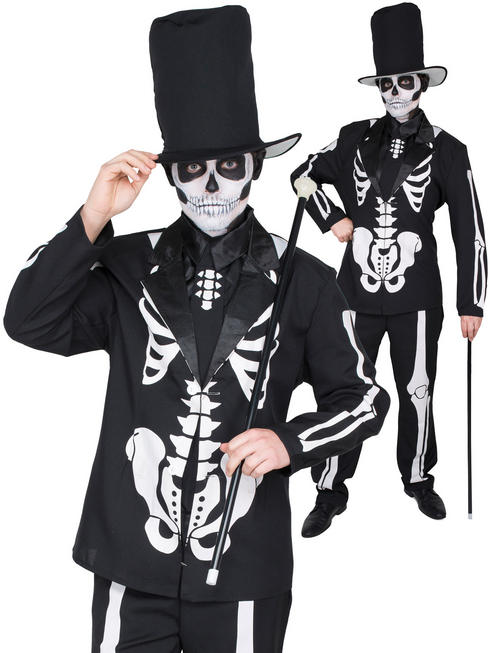 Men's Day Of The Dead Skeleton Suit Costume