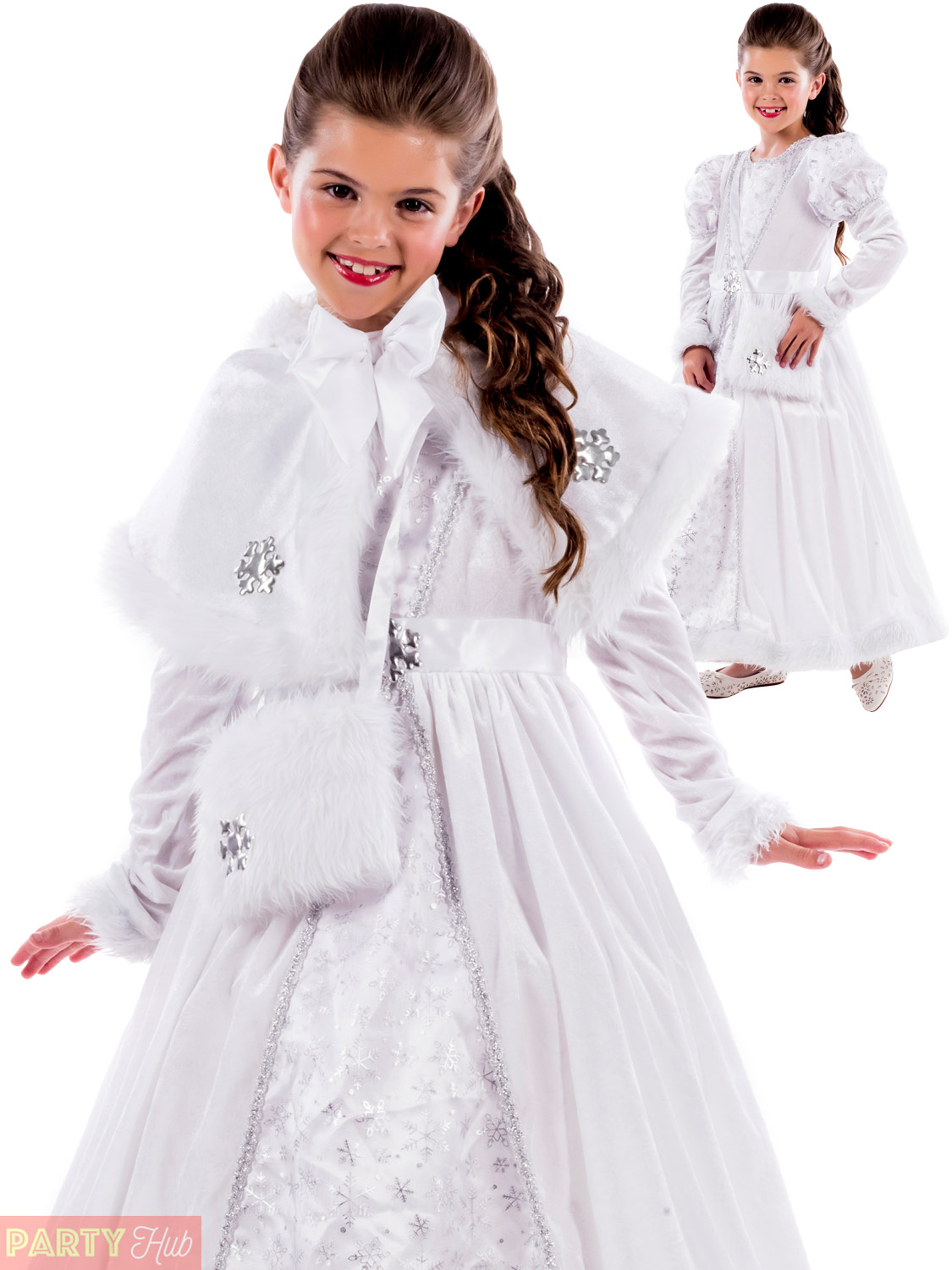 Girls Ice Queen Ball Gown Costume Childs Christmas Fancy Dress Kids ...