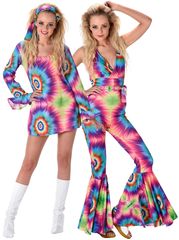 Details about Ladies 60s 70s Hippie Costume Adults Hippy Fancy Dress Jumpsuit Tie Dye Womens