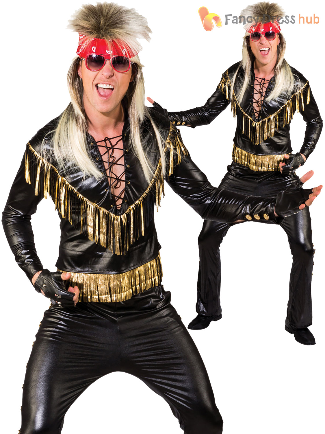 Mens Rock Star Costume Adults 80s Rocker Kiss Fancy Dress 1980s Punk Outfit | EBay