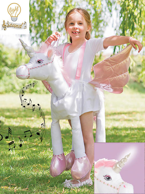 Girl's Ride-On Unicorn Costume (Lights & Sound)
