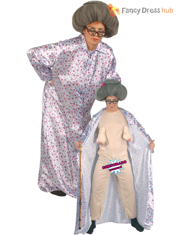 Adults Groping Granny Costume Mens Ladies Flasher Grandma Fancy ...