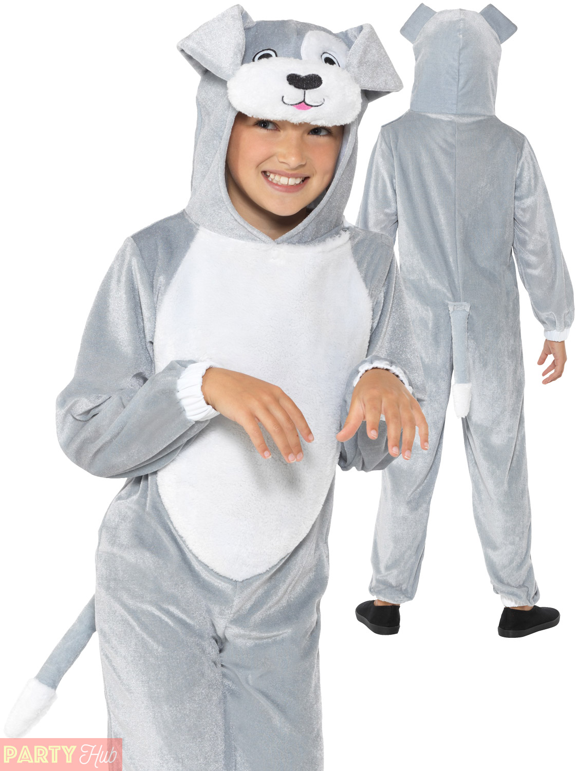 Boy In Dog Mask: Kids Puppy Dog Costume Boys Girls Animal Fancy Dress Grey