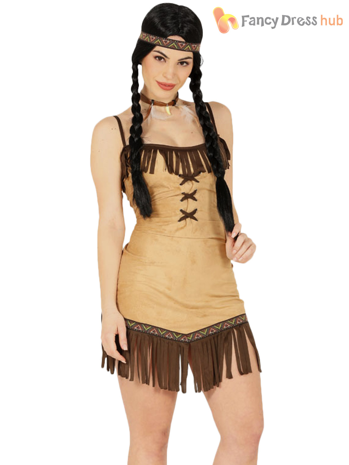 ladies red indian costume adults pocahontas fancy dress native american outfit ebay. Black Bedroom Furniture Sets. Home Design Ideas