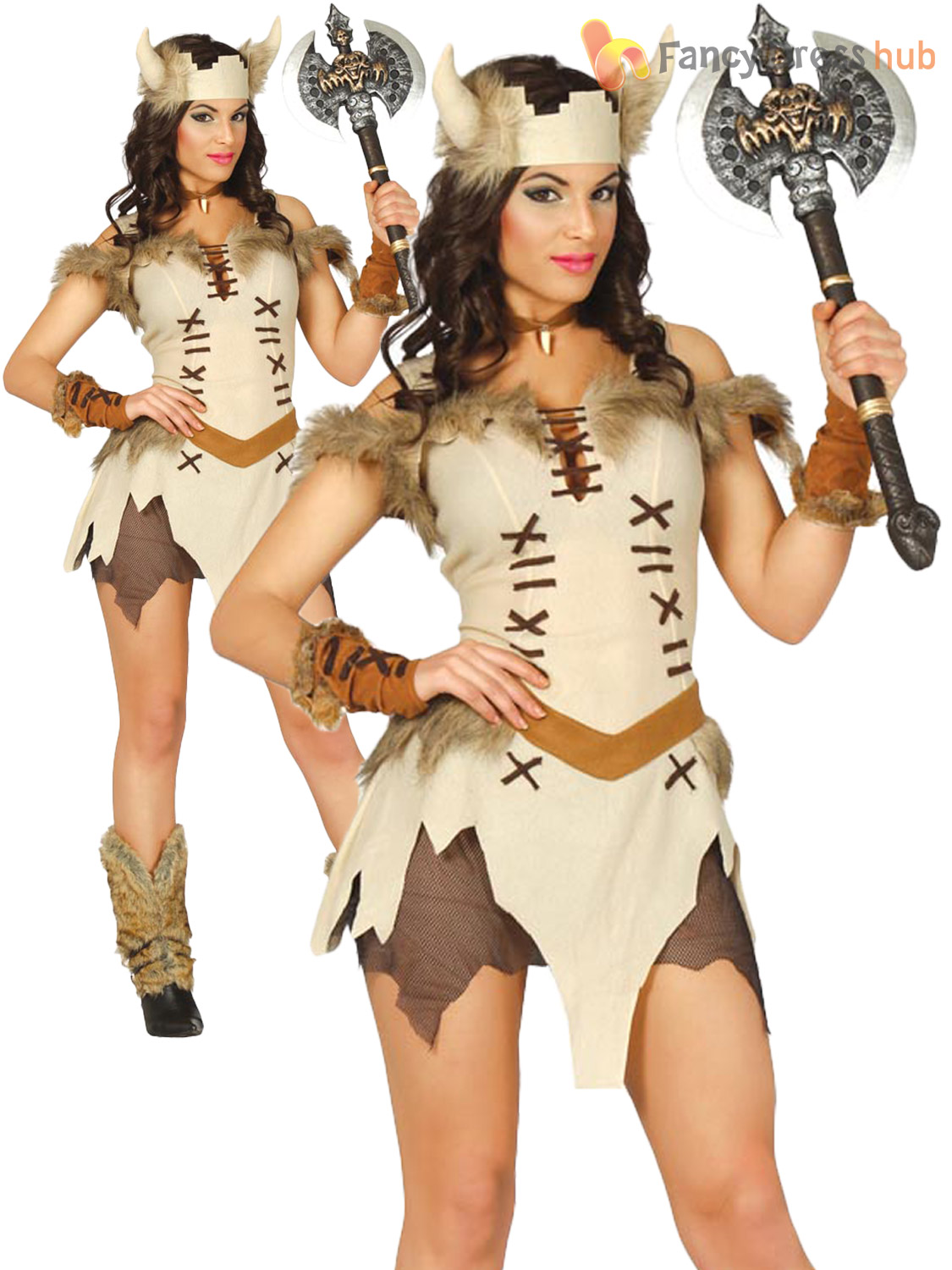 Adults-Viking-Costume-Mens-Ladies-Medieval-Warrior-Barbarian-Fancy-Dress-Outfit thumbnail 5
