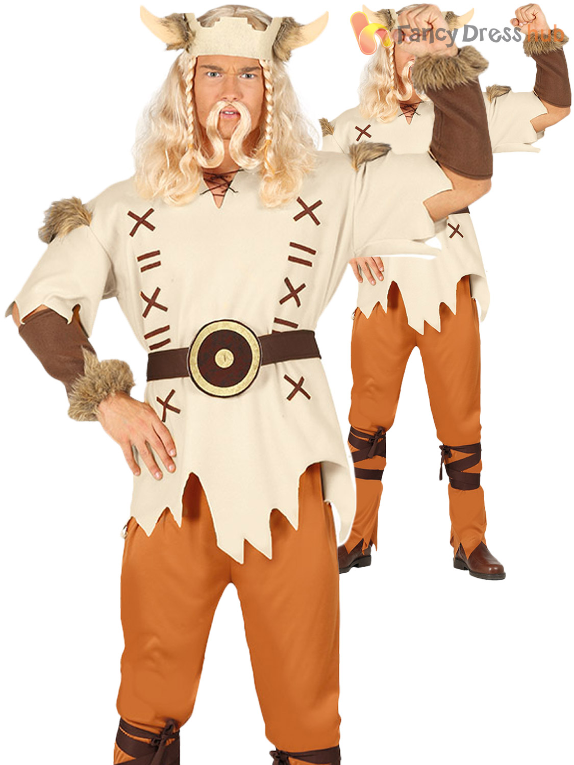 Adults-Viking-Costume-Mens-Ladies-Medieval-Warrior-Barbarian-Fancy-Dress-Outfit thumbnail 3