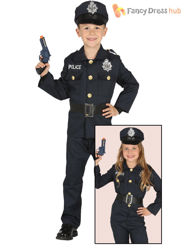childs police costume boys girls pc constable cop uniform fancy dress book week ebay. Black Bedroom Furniture Sets. Home Design Ideas