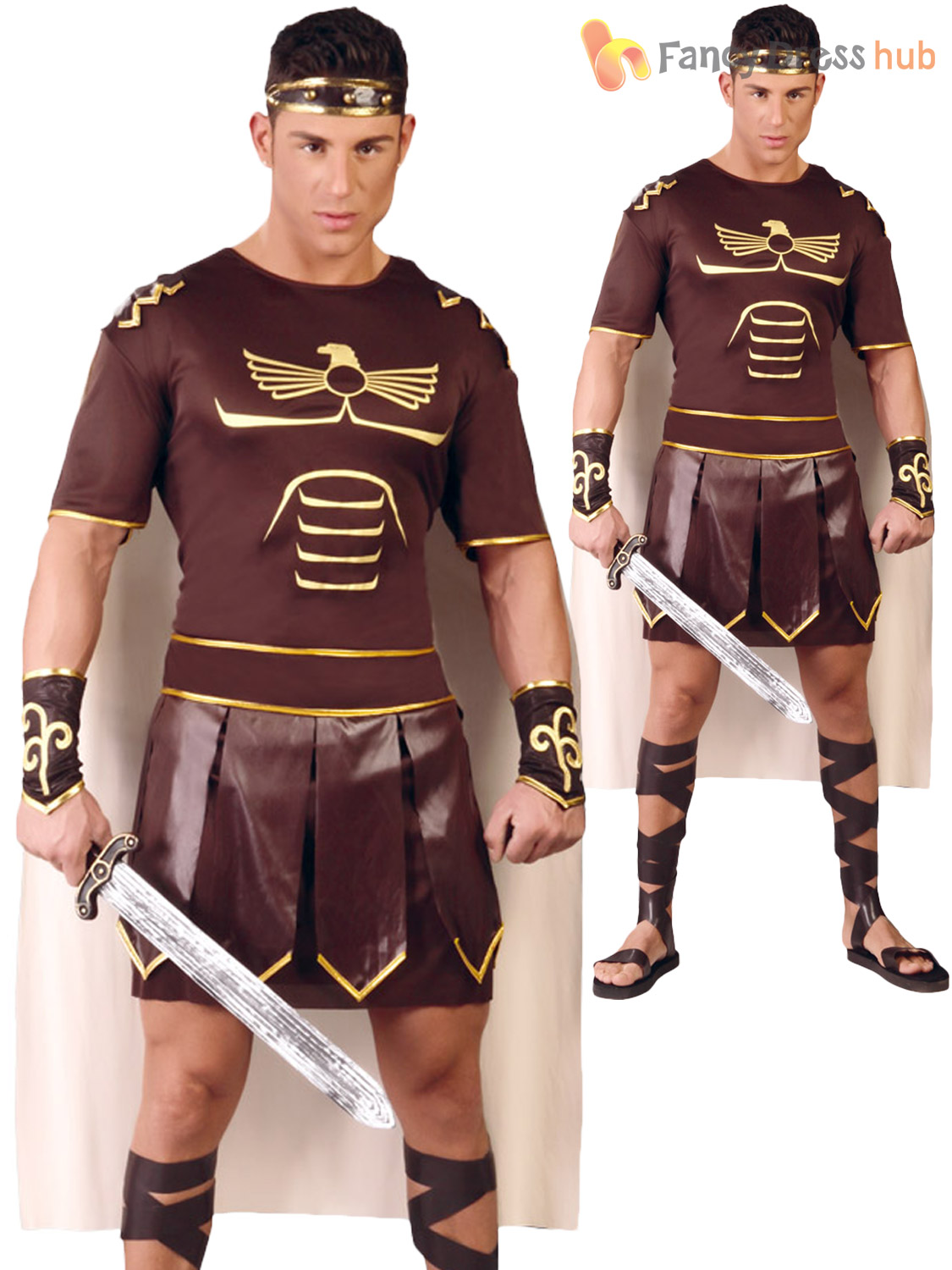 Image is loading Mens-Gladiator-Costume-Adults-Spartan -Greek-Warrior-Soldier-  sc 1 st  eBay & Mens Gladiator Costume Adults Spartan Greek Warrior Soldier Fancy ...
