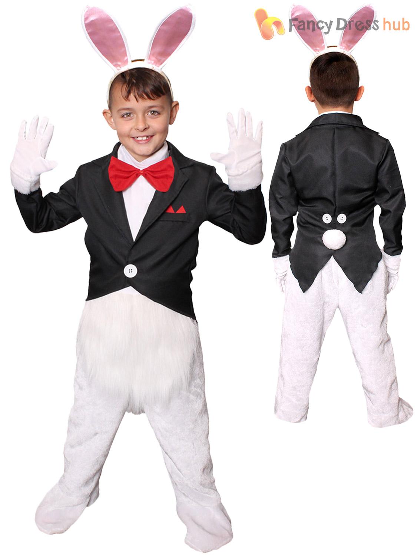 Childs-White-Rabbit-Costume-Boys-Girls-Alice-Fairytale-  sc 1 st  eBay & Childs White Rabbit Costume Boys Girls Alice Fairytale Fancy Dress ...