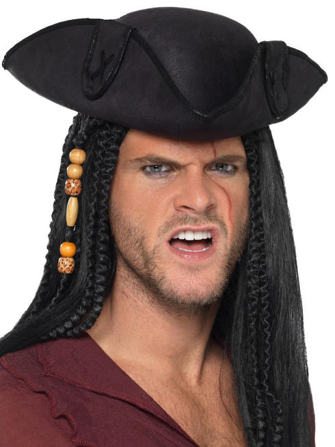 Black Pirate Tricorn Captain Hat