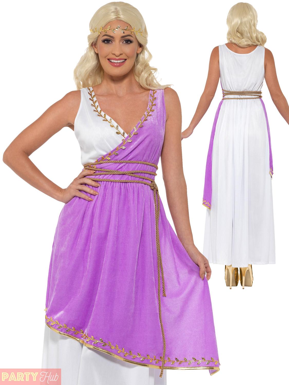 Ladies Grecian Goddess Costume Adults Toga Roman Greek Fancy Dress ...