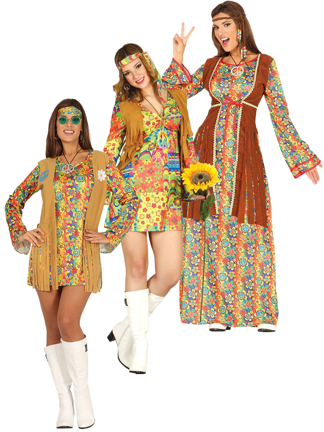 Details about Ladies Hippy Costume Adults 60s 70s Hippie Fancy Dress Womens 1960s 1970s Outfit