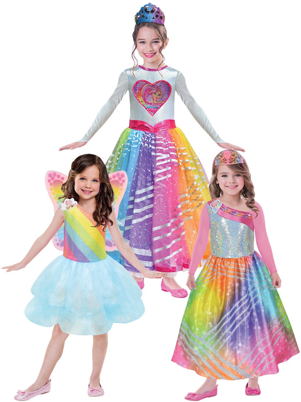 Girls Barbie Costume Childs Cloud Tutu Rainbow Magic Fancy Dress
