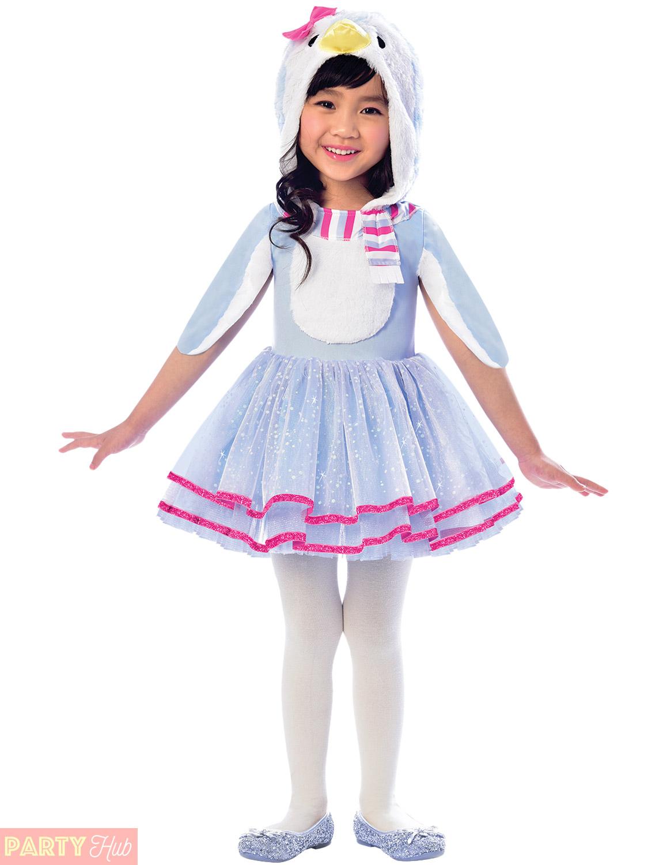 e23b49c1720f Girls Penguin Flamingo Fox Racoon Costume Childs Animal Fancy Dress ...