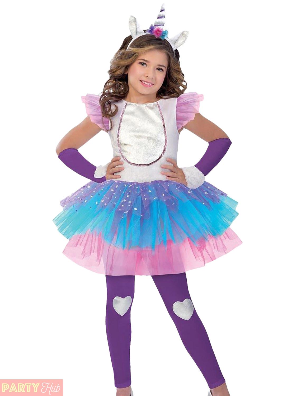 82c397f2bc14 Girls Magical Unicorn Costume Childs Fantasy Fancy Dress Kids ...