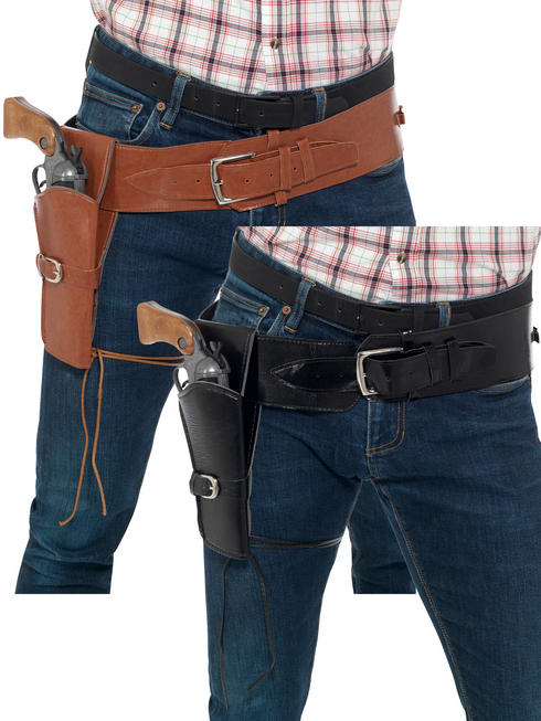 Adults Cowboy Holster Belt Fancy Dress Mens Ladies Wild West Western Accessory