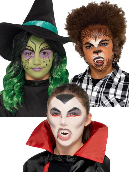 Childs Vampire Werewolf Wolf Witch Make Up Kids Halloween Face Paint Fancy Dress