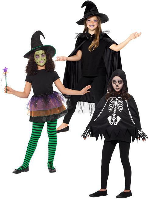 Childs Pretty Witch Skeleton Halloween Fancy Dress Kids Boys Girls Costume