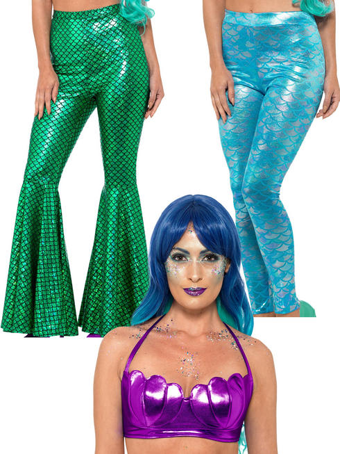 Ladies Mermaid Trousers Leggings Shell Top Fancy Dress Accessory Womens Sexy
