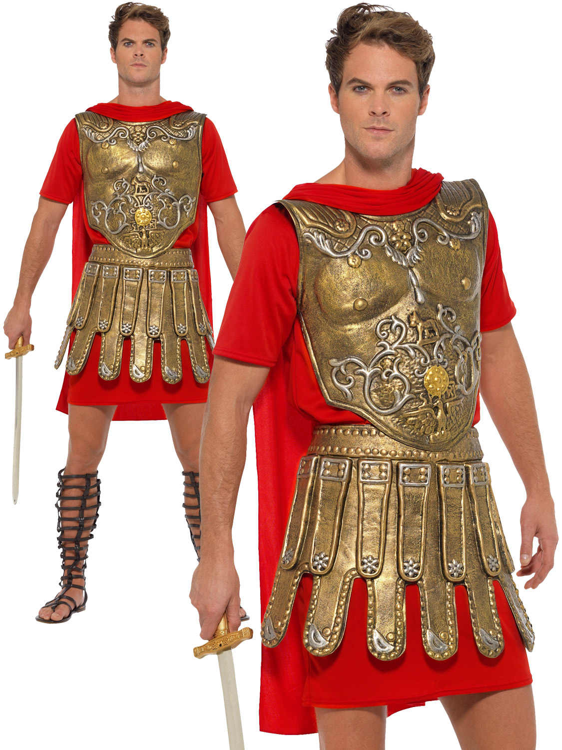 Mens White /& Red Greek God Fancy Dress Costume Greecian Man Warrior Outfit