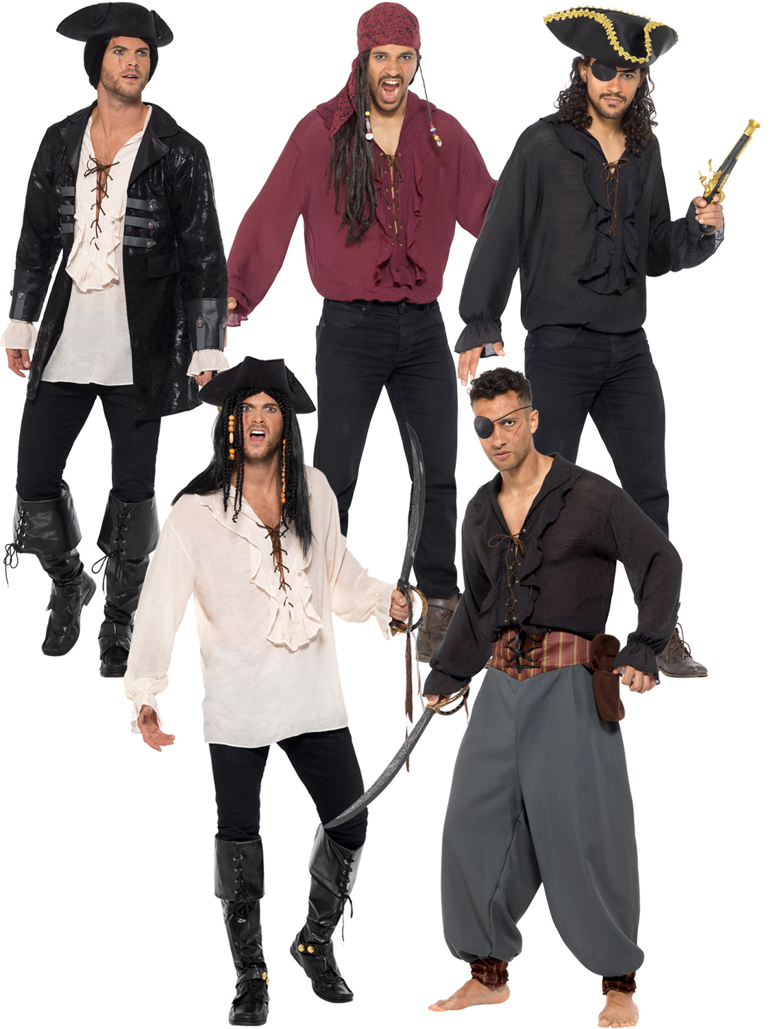 Mens Deluxe Pirate Jacket Shirt Pants Fancy Dress Accessory Adults Buccaneer