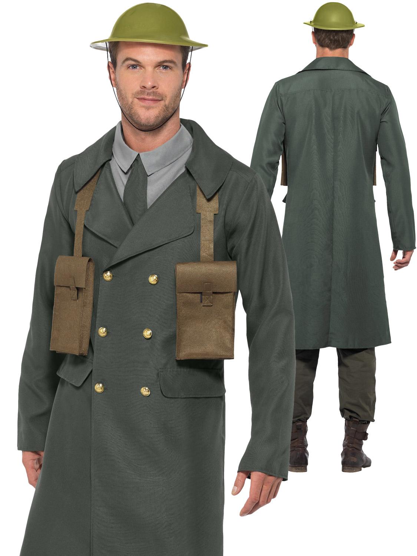 Details about Mens WW2 Air Raid Warden Costume Adult Uniform World War II  Fancy Dress Officer