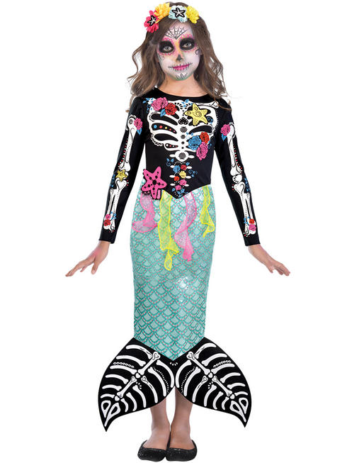 Girl's Day Of The Dead Mermaid Costume