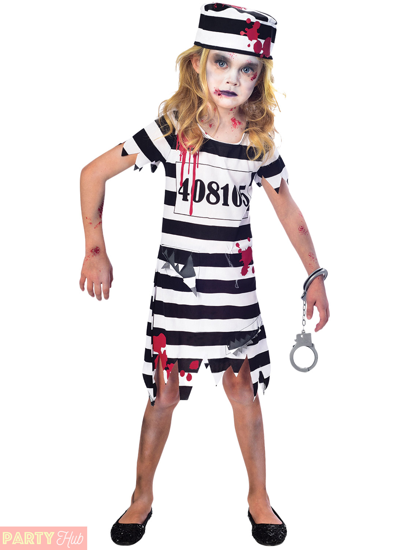 girls boys zombie convict costume prisoner halloween fancy