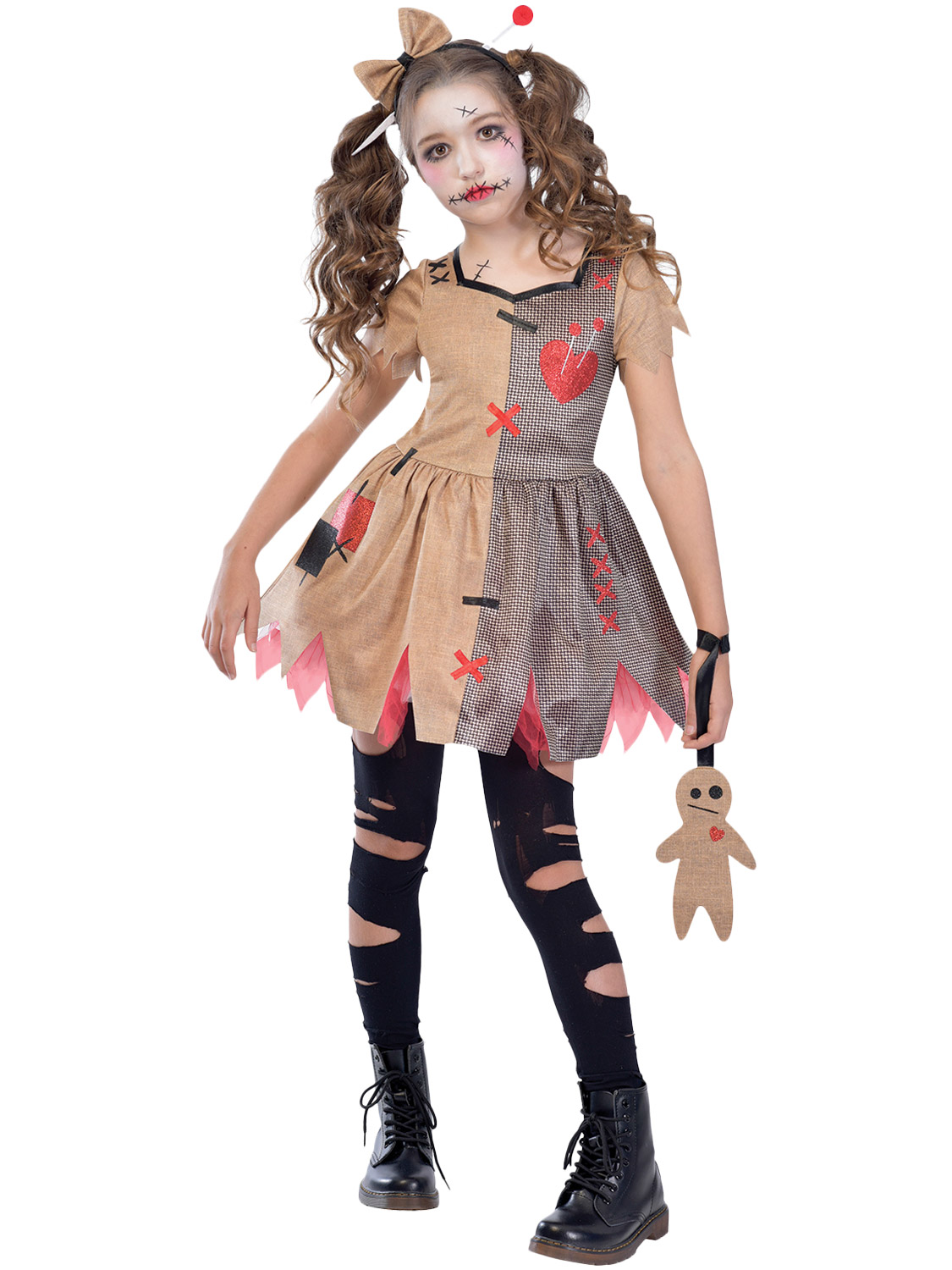 Girls Voodoo Doll Costume Childs Witch Doctor Fancy Dress Kids