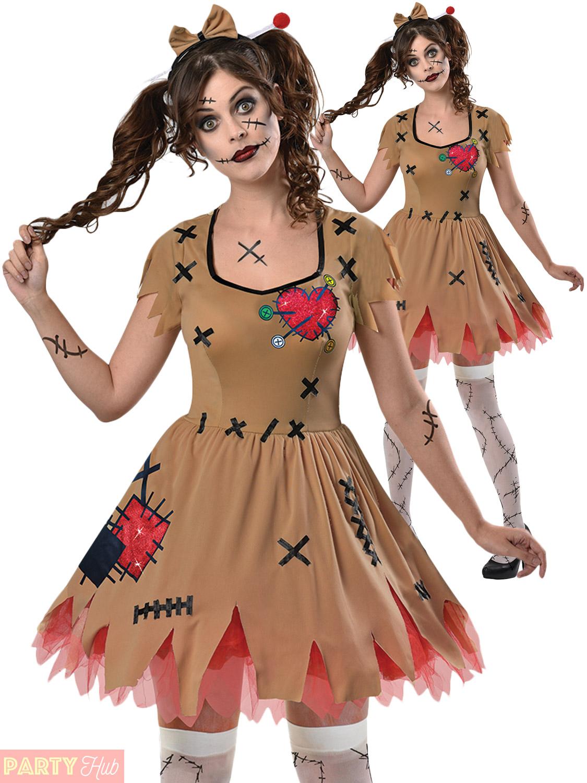 ladies voodoo doll broken zombie doll costume halloween fancy dress