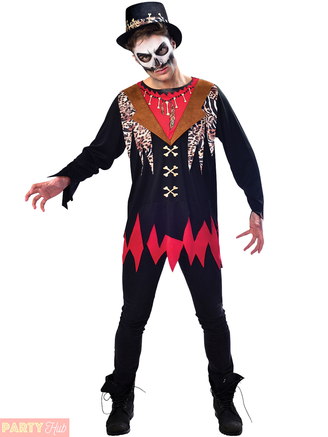 Details about Mens Witch Doctor Costume Adults Voodoo Halloween Fancy Dress  Horror Outfit