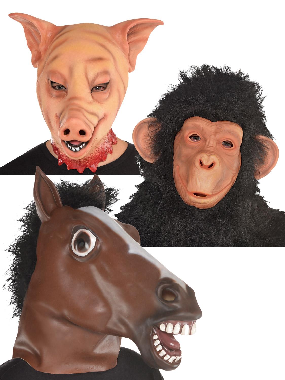 Adults Chimp Pig Horse Mask Mens Ladies Animal Halloween Fancy Dress Accessory