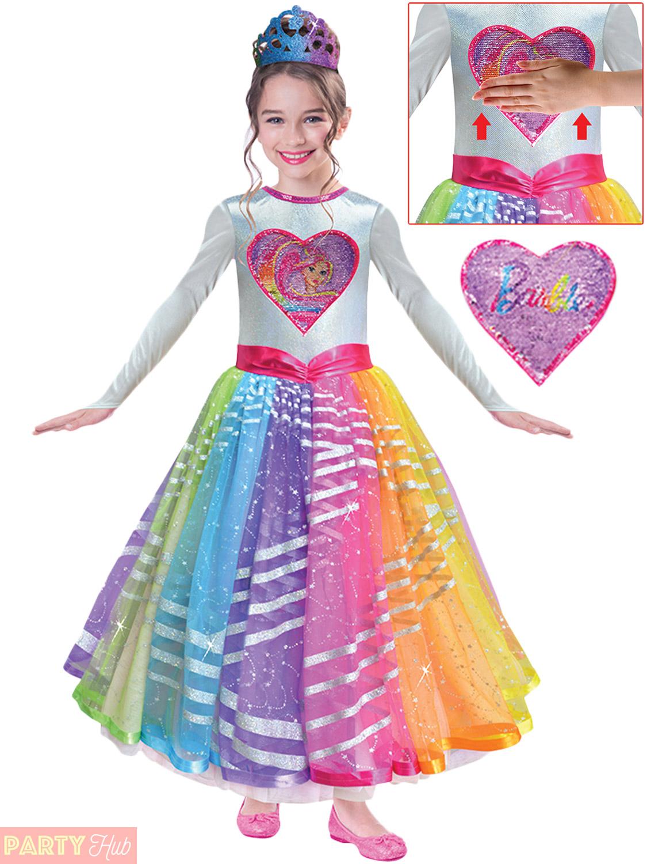 Girls Deluxe Rainbow Magic Barbie Costume Childs Princess Fancy ...