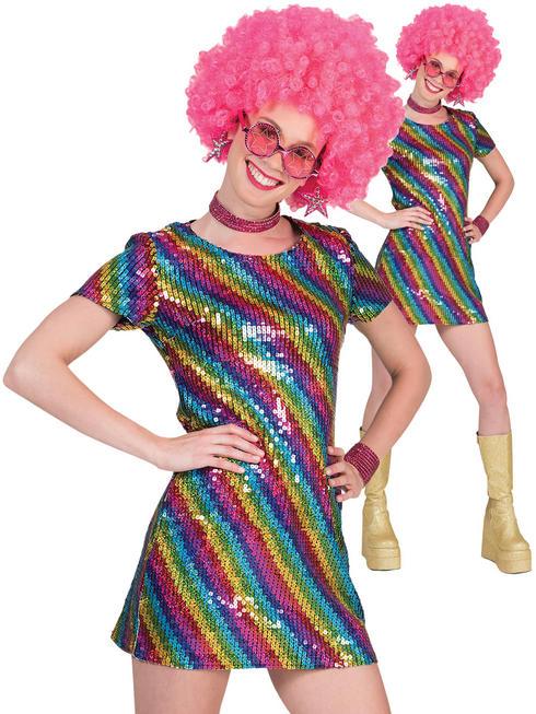 Ladies Sequin Disco Dress Costume