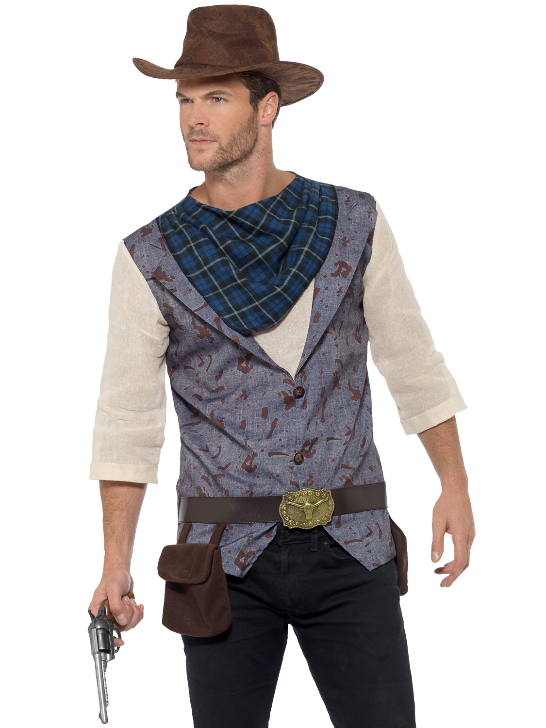ADULT COWBOY OUTFITS FOR MENS WILD WEST FANCY DRESS PARTY 2 SIZES AVAILABLE