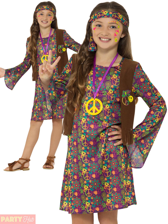 Girls-60s-70s-Hippie-Costume-Childs-Hippy-Fancy-  sc 1 st  eBay & Girls 60s 70s Hippie Costume Childs Hippy Fancy Dress Kids Decades ...