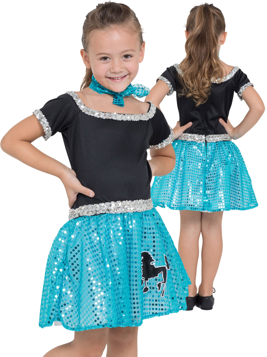 4b5e42433dad Girls Rock n Roll Sequin Costume - Turquoise - Large 5051090290876 ...