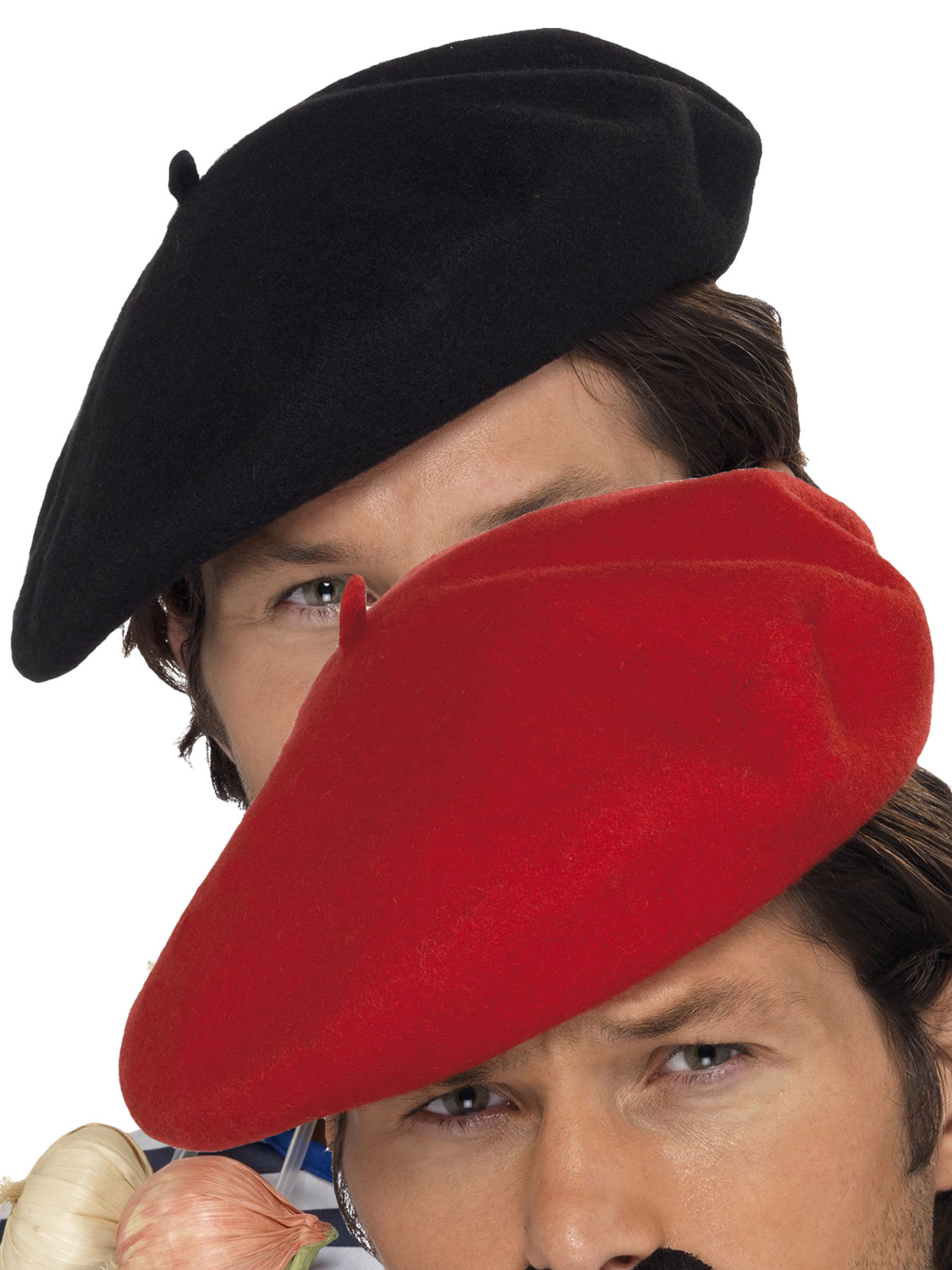 Adults French Beret Mens Ladies Black Red Mime Artist Hat Fancy Dress Accessory