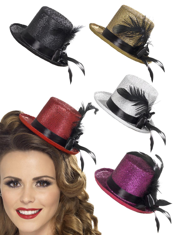 Mini Glitter Top Hat Headband Ladies Burlesque Halloween Party Fancy Dress Z