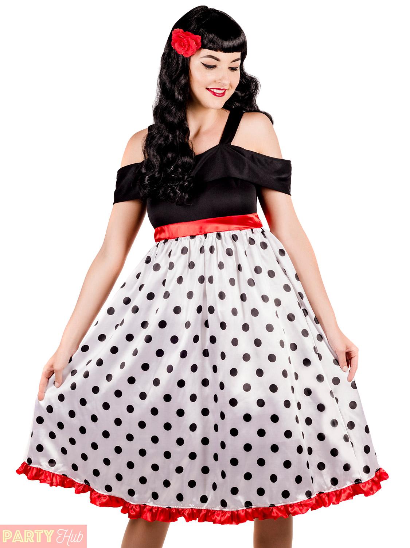 3cbb96c98aa7 Ladies Rockability Costume Adult 1950s Rock N Roll Fancy Dress ...